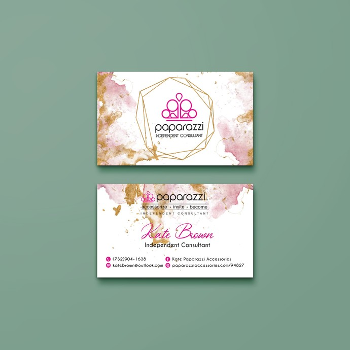 Glitter Watercolor Paparazzi Business Cards, Paparazzi Accessories, Gold