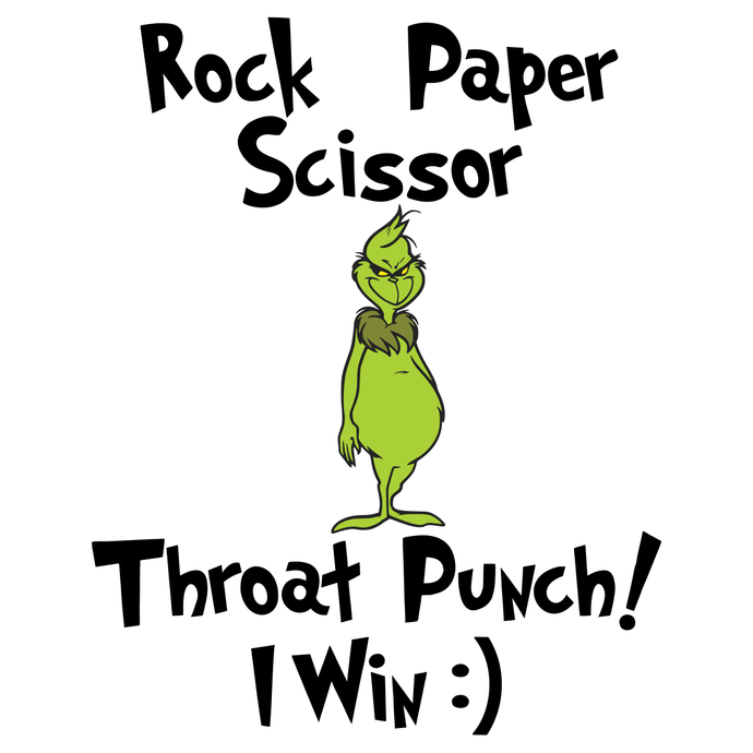 Rock Paper Scissor Throat Punch I win, Christmas Svg, Grinch Svg,The Grinch svg,