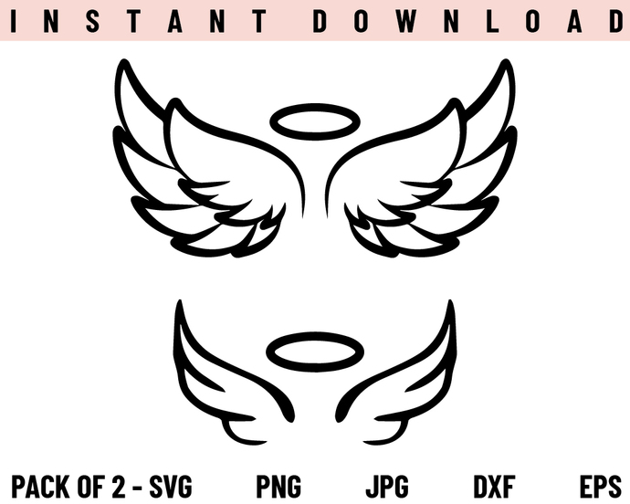 Angel Wings SVG, Angel SVG, Wings SVG, PNG, DXF, Cricut, Cut File, Clipart,