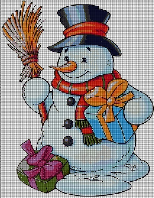 Snowman fantasy art cross stitch pattern in pdf DMC