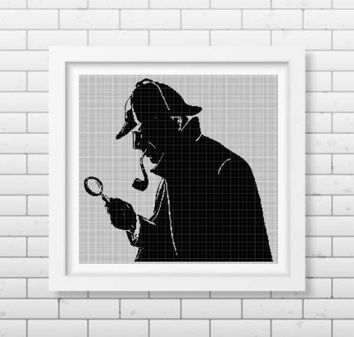 Sherlock Holmes silhouette cross stitch pattern in pdf DMC