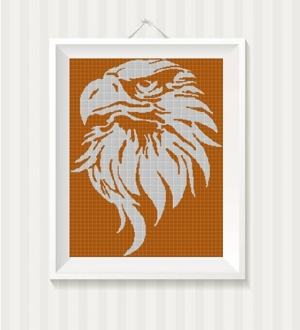 Golden Eagle silhouette cross stitch pattern in pdf