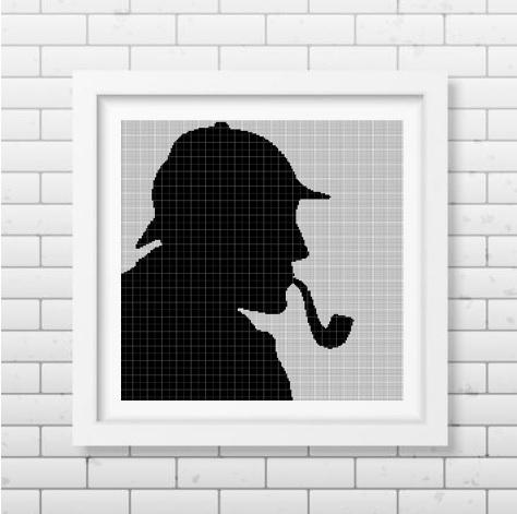 Sherlock Holmes silhouette cross stitch pattern in pdf2 DMC