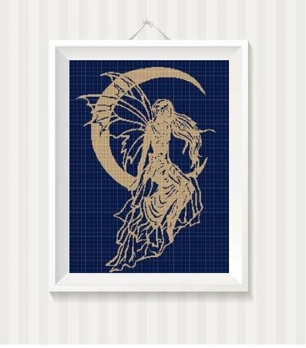 Night Fairy silhouette cross stitch pattern in pdf