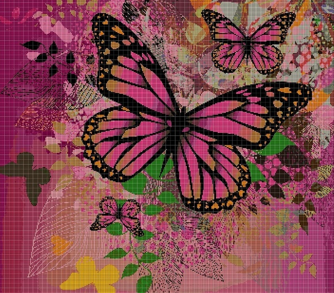 Floral Butterflies cross stitch pattern in pdf DMC