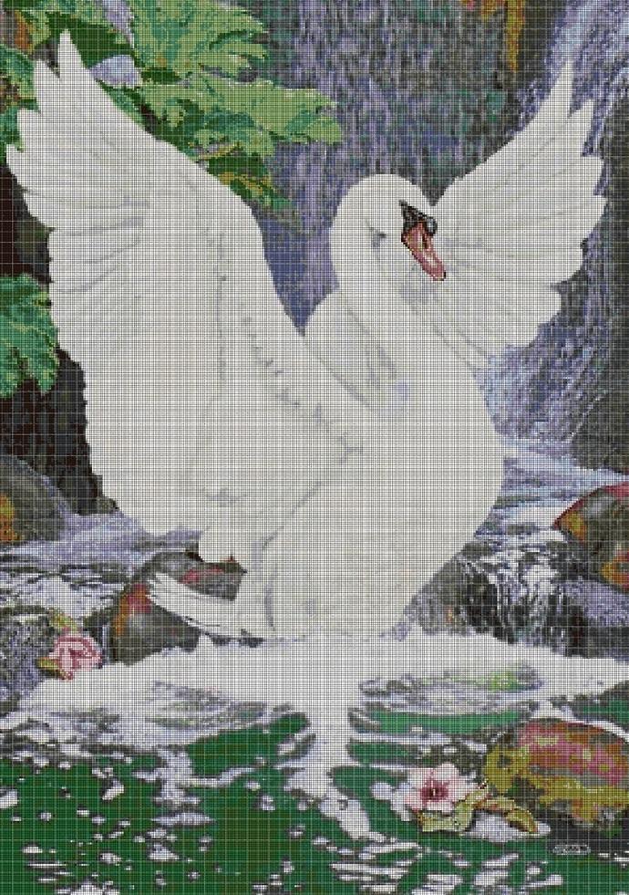 Flying swan cross stitch pattern in pdf DMC
