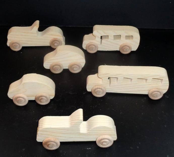 Pkg of 6 Handcrafted Wood Toy  Cars, School Buses OT-6 unfinished or finished