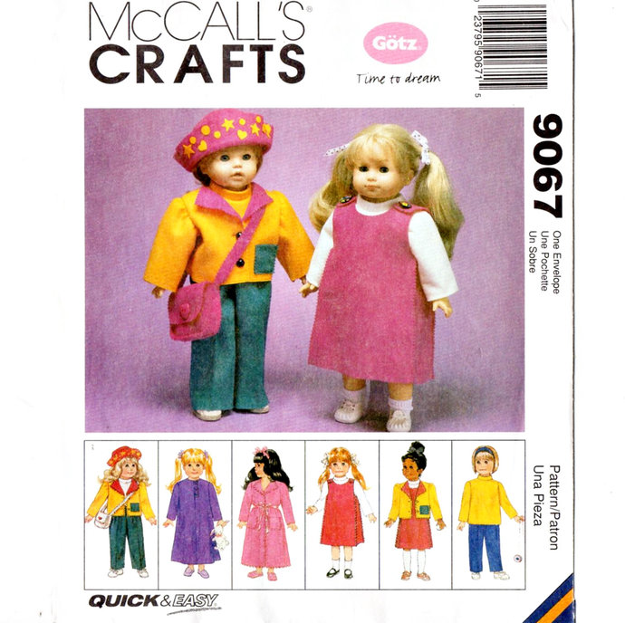 "McCall's 9067 18"" Doll Clothes 90s Vintage Sewing Pattern Uncut Gotz Jacket,"