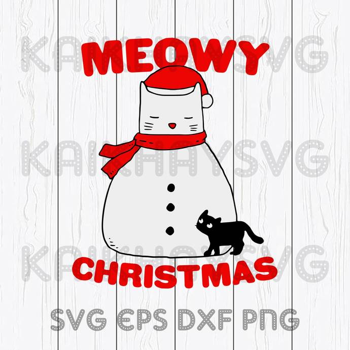 Meowy Christmas Snow Cat 2020 Cricut, SVG, EPS, DXF, JPG, PNG,Instant Download