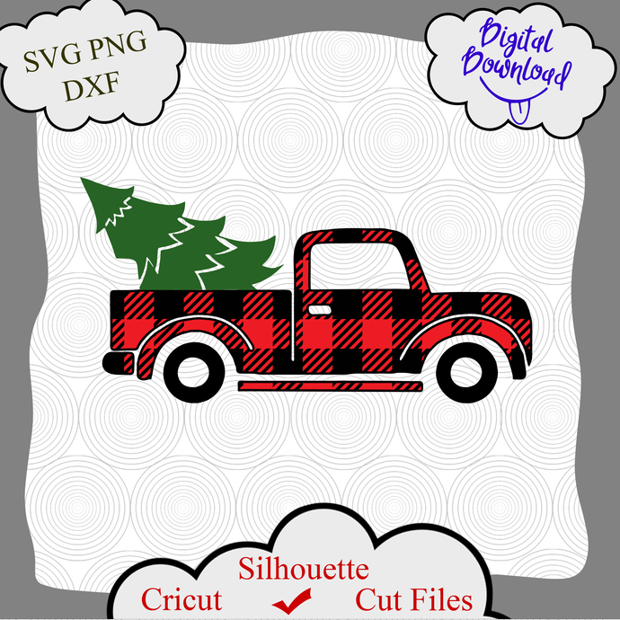 Christmas Truck and Tree Svg, Christmas Truck Buffalo svg, Christmas truck svg,