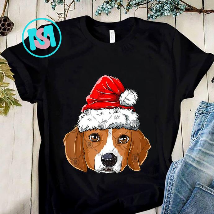Beagle Christmas Dog Santa Hat PNG, Beagle PNG, Dog PNG, Santa Hat PNG,