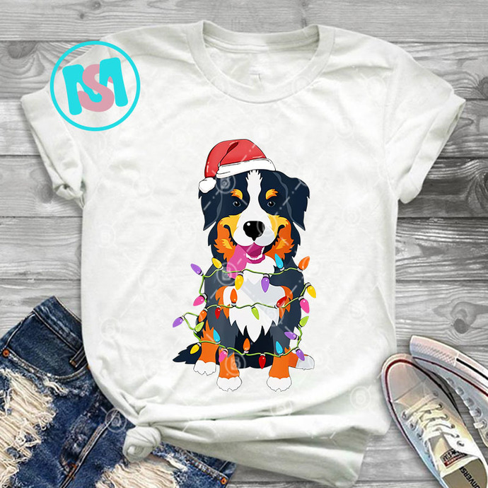 Bernese Mountain Dog Christmas Lights PNG, Bernese Mountain PNG, Dog PNG,