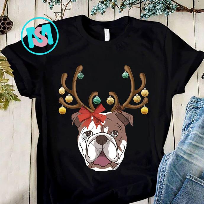 Bulldog With Antlers For Christmas PNG, Bulldog PNG, Dog PNG, Merry Christmas