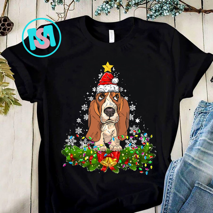 Christmas Lights Basset Hound PNG, Basset Hound PNG, Merry Christmas PNG, Dog