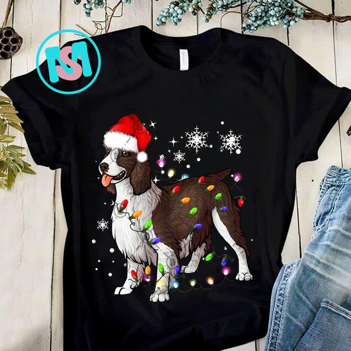 Christmas Lights English Springer Spaniel Dog PNG, English Springer Spaniel PNG,