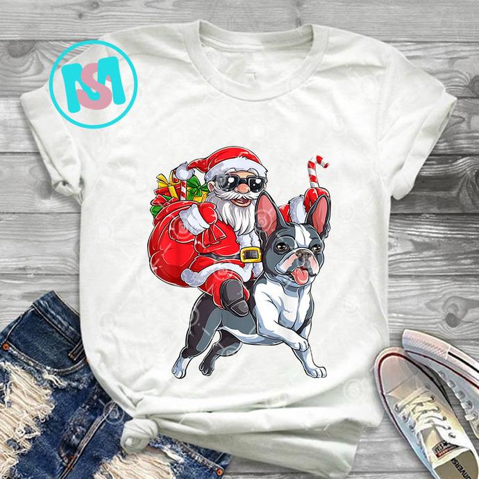 Christmas Santa Claus Riding Boston Terrier Xmas PNG, Boston Terrier PNG, Santa
