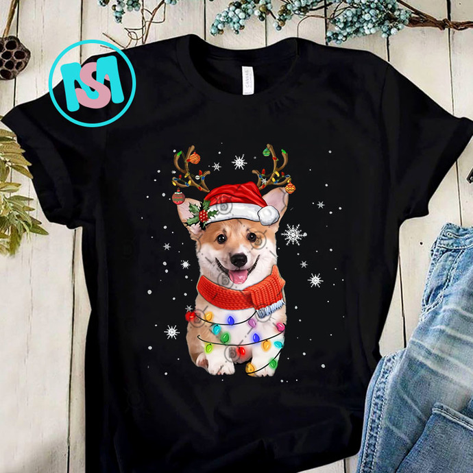 Corgi Dog Christmas Reindeer Santa Hat PNG, Corgi PNG, Reindeer PNG, Santa Hat