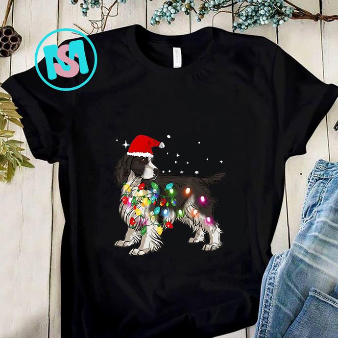 English Springer Spaniel Dog Christmas Lights PNG, English Springer Spaniel PNG,