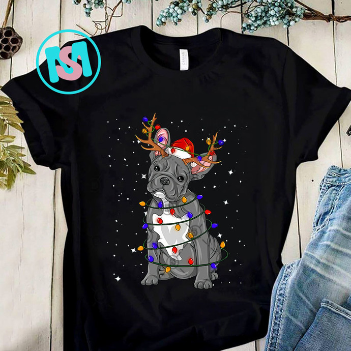 French Bulldog Reindeer Christmas PNG, French Bulldog PNG, Reindeer PNG, Merry