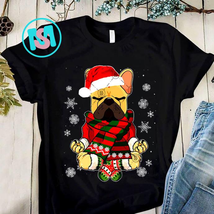 French Bulldog Yoga Santa Hat Christmas PNG, French Bulldog PNG, Santa Hat PNG,