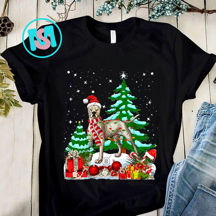 Funny Dogo Argentino Dog Christmas Tree PNG, Dogo Argentino PNG, Christmas Tree