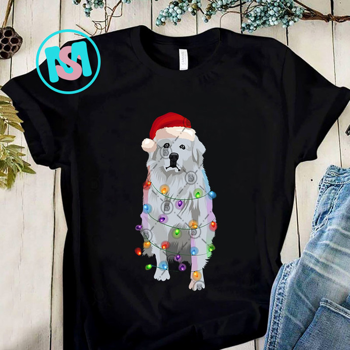 Great Pyrenees Christmas Lights PNG, Great Pyrenees PNG, Christmas Lights PNG,