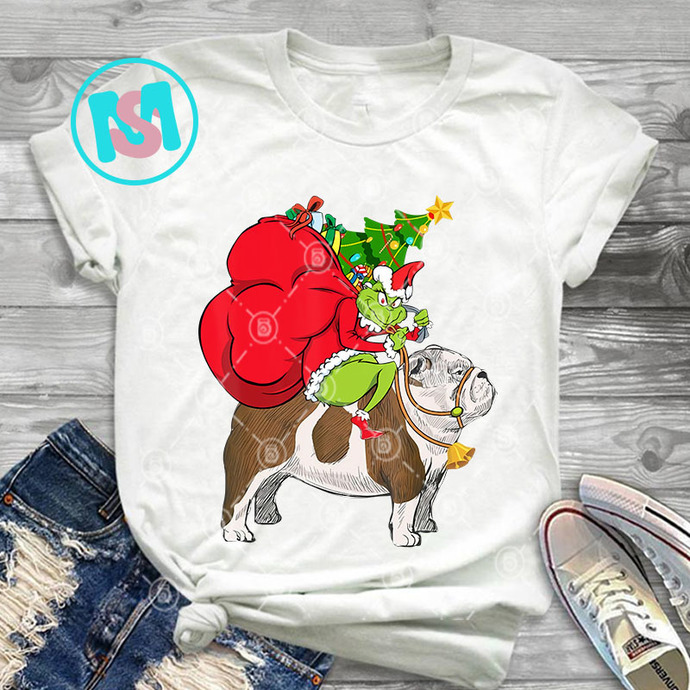 Grinch Riding English Bulldog Christmas PNG, Grinch PNG, Bulldog PNG, Merry