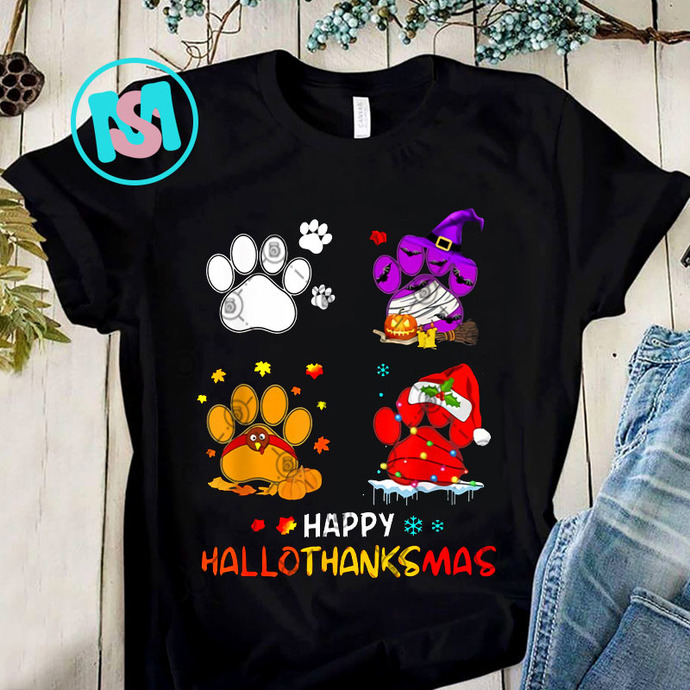 Happy Hallothanksmas Paw PNG, Paw PNG, Merry Christmas PNG, Dog PNG, Digital