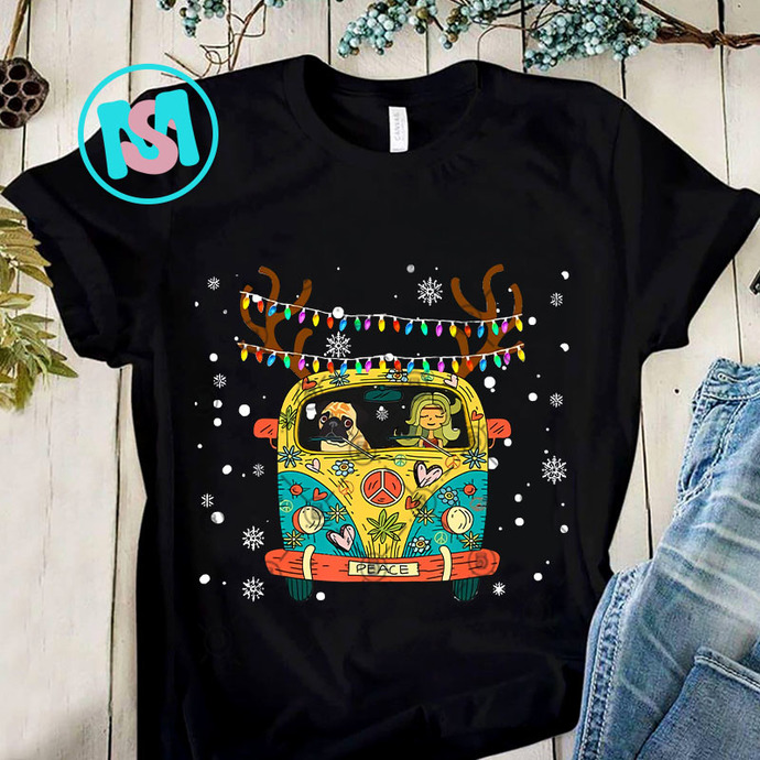 Hippie Van Christmas Funny Lady Pug PNG, Hippie Van Christmas PNG, Pug PNG,