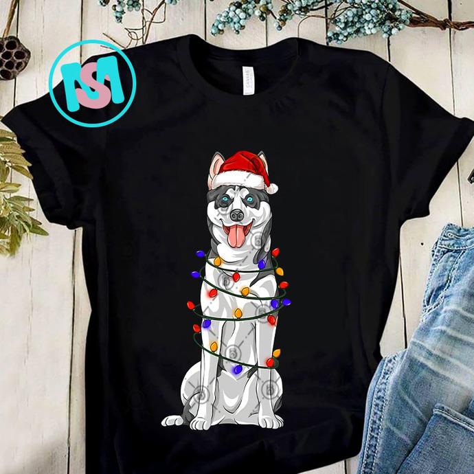 Husky Xmas Lights PNG, Husky PNG, Christmas Lights PNG, Merry Christmas PNG, Dog