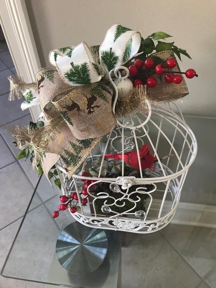 Christmas Cardinal in white bird cage