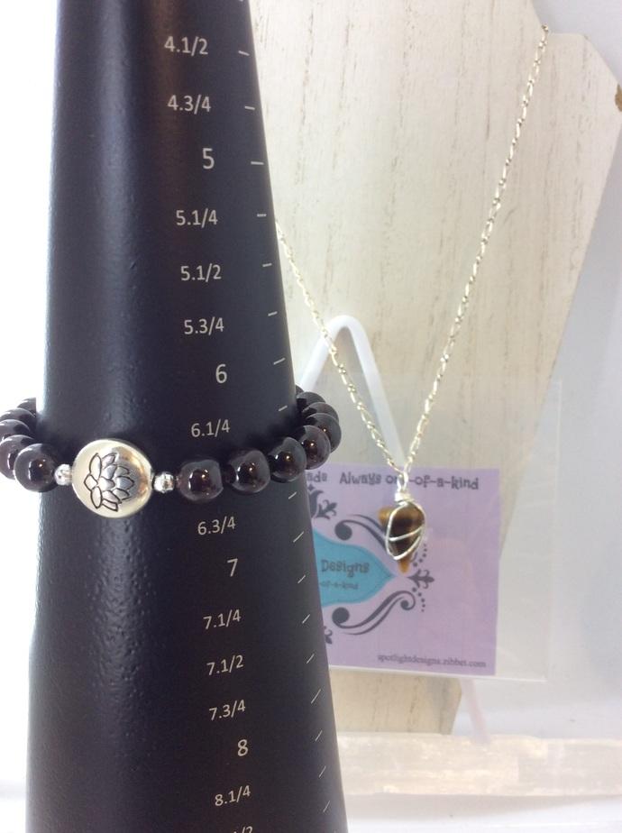 7 Chakra Gemstone stretch bracelet Arm Stack with Lotus focal bead.