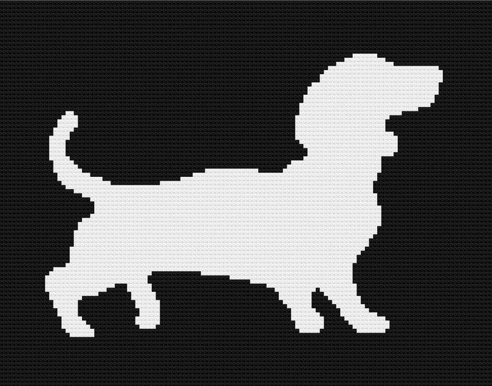 Dachshund Dog White Silhouette C2C Crochet Pattern Corner to Corner Twin Size