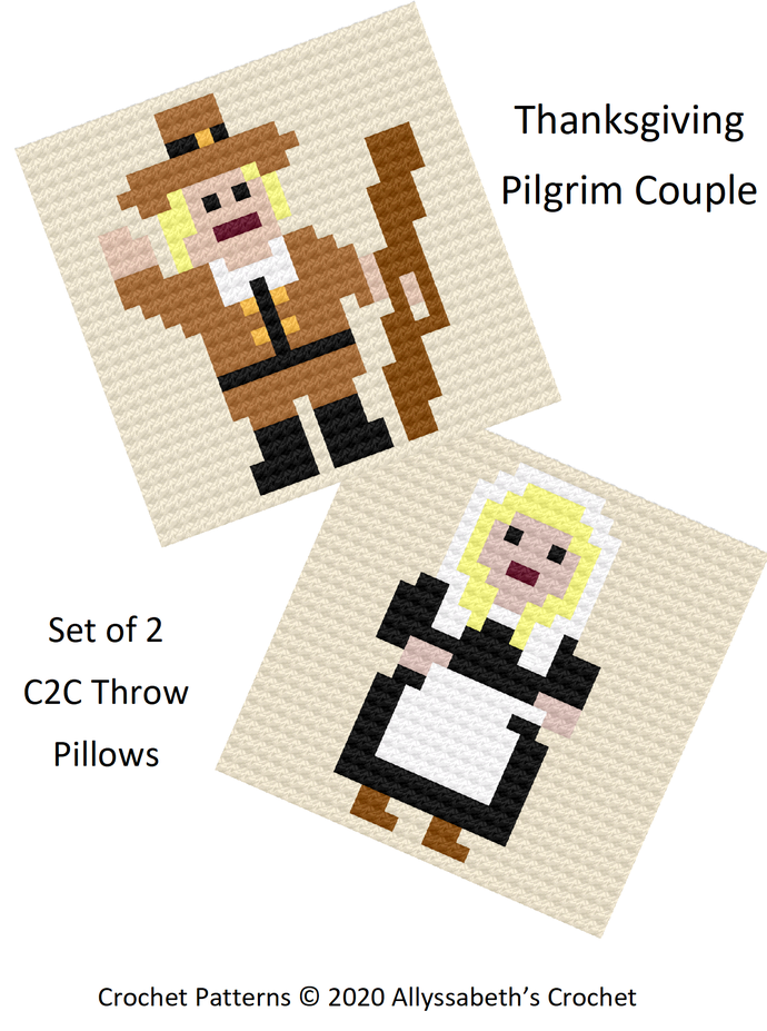 Set of 2 C2C Thanksgiving Pilgrim Throw Pillows or Motifs Crochet Patterns