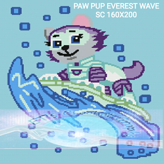 Paw Pup Everest Wave SC 160x200 includes graph with color chart instructions