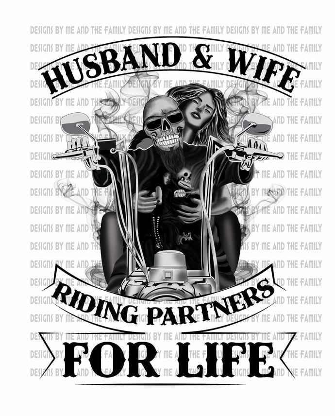Husband and Wife riding partners for life black, Bike hard love harder, peace