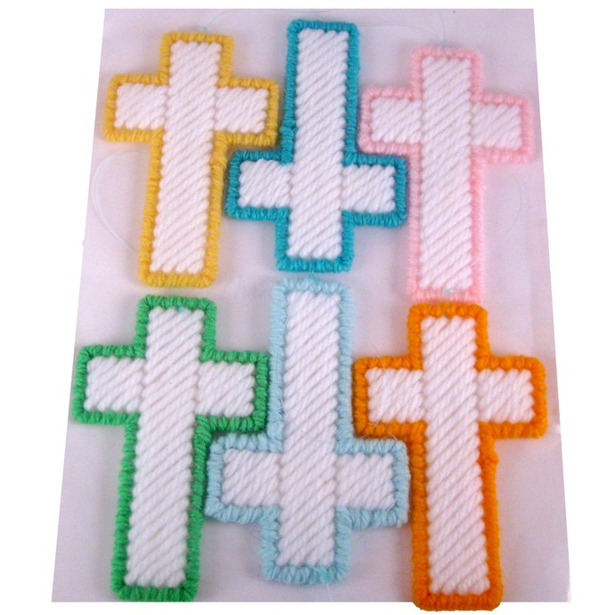 Easter Cross Christmas Ornament Set Pastel