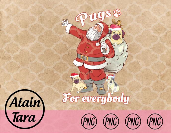 Pugs For Everybody Pug Christmas png, Funny Pug Christmas Long Sleeve png,