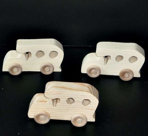 Pkg of 3 Handcrafted Wood Toy Cars 20AH-U-3 unfinished or finished