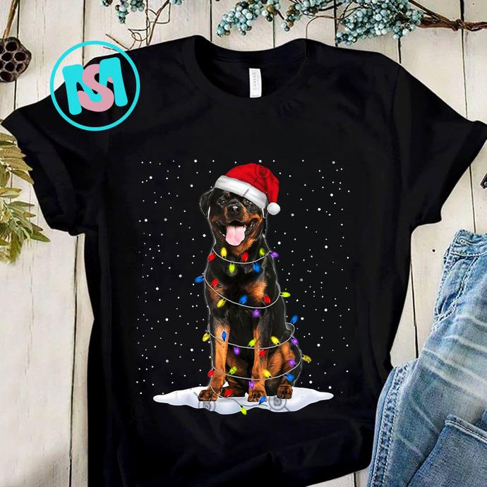 Rottweiler Santa Christmas Tree Lights PNG, Rottweiler PNG, Santa Hat PNG,