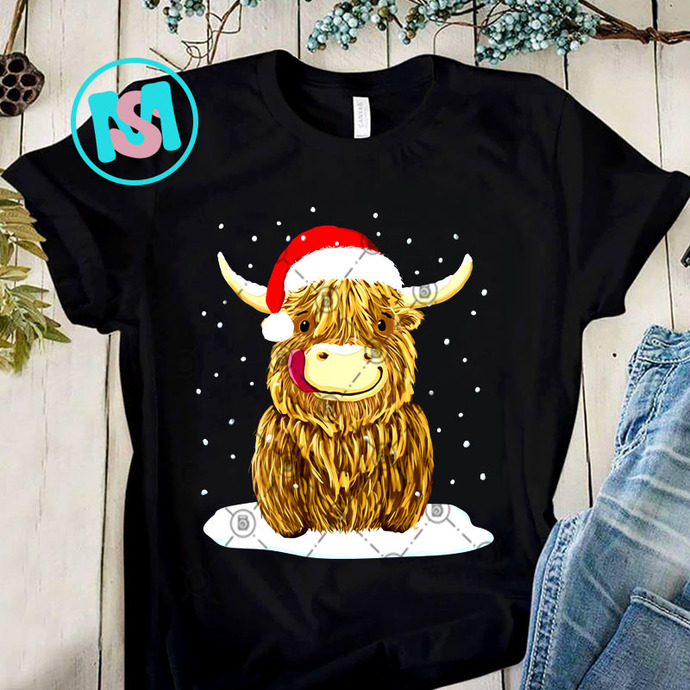 Scottish Highland Cow Christmas Snow PNG, Scottish Highland Cow PNG, Cow PNG,