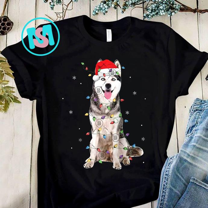 Siberian Husky Christmas PNG, Siberian Husky PNG, Dog PNG, Santa Hat PNG,