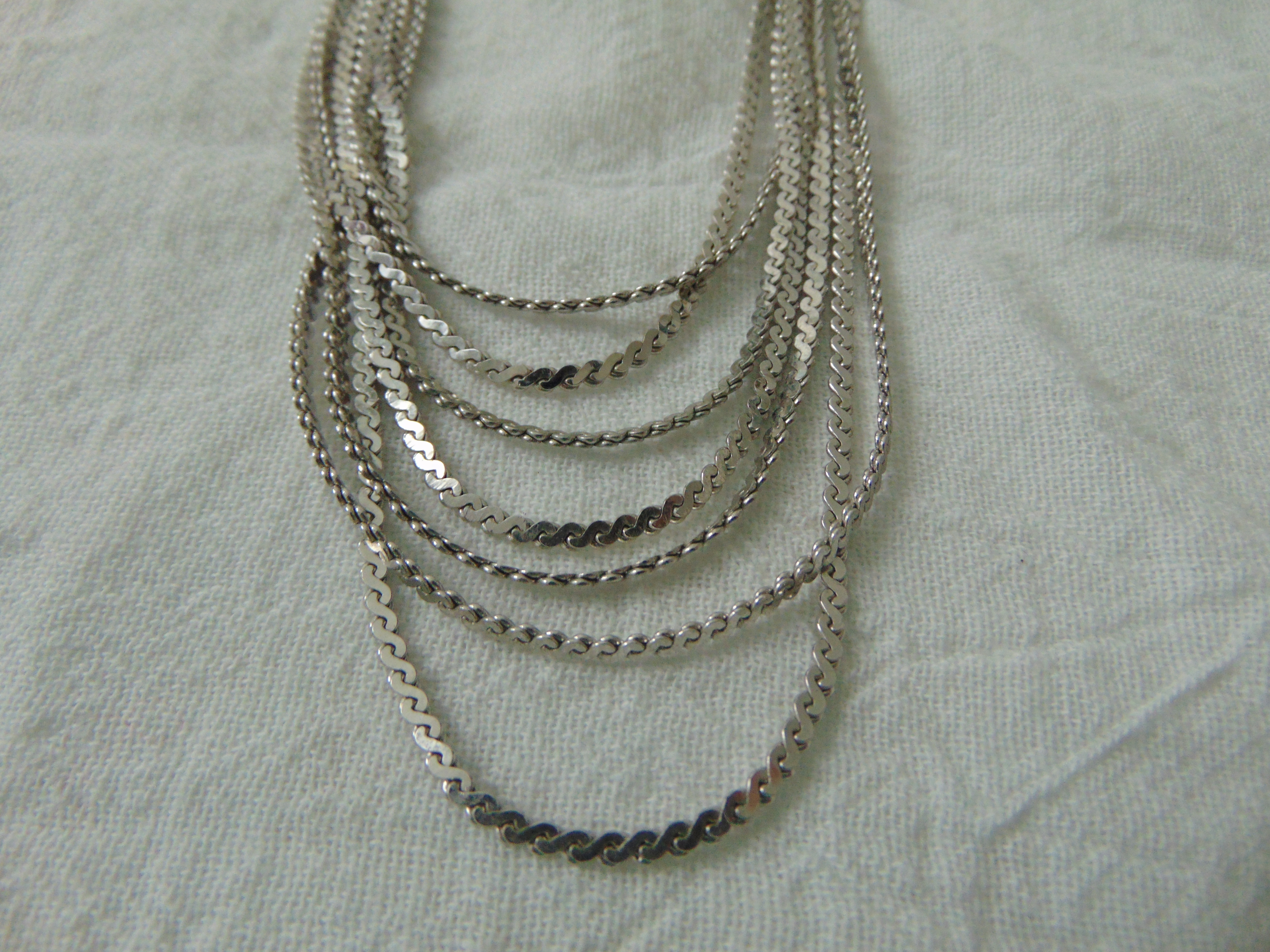 vintage Monet silver multi chain necklace signed mint
