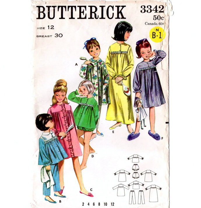 Butterick 3342 Girls Nightgown, Pajamas, Robe 60s Vintage Sewing Pattern Size 12