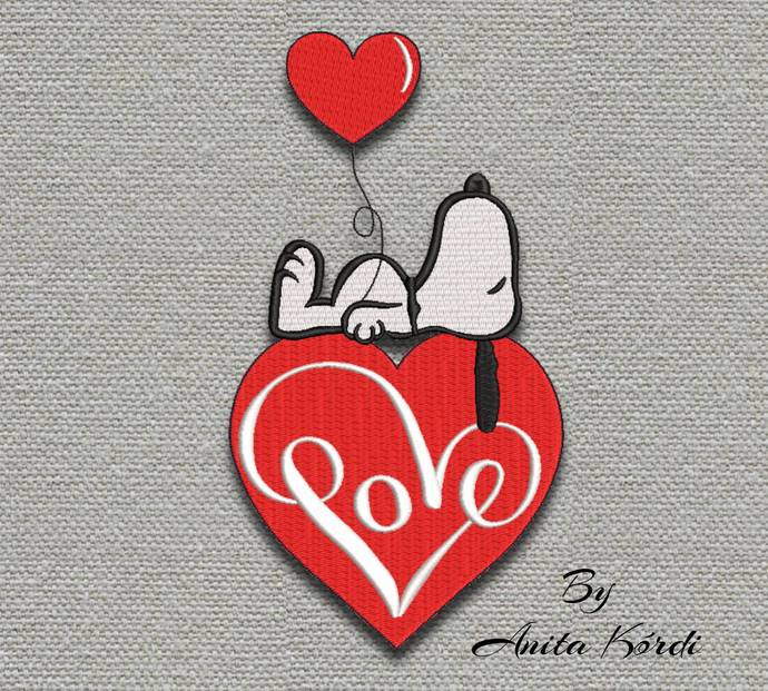 Snoopy embroidery designs love heart machine pes pattern