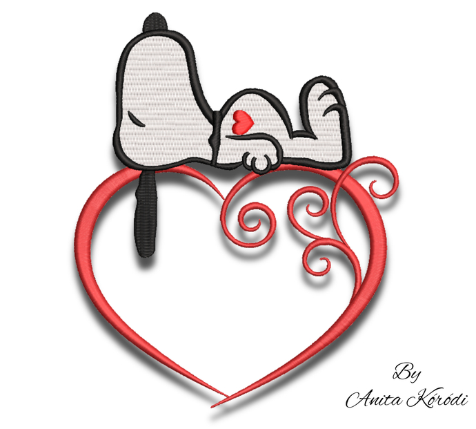 Snoopy embroidery machine design heart love pes