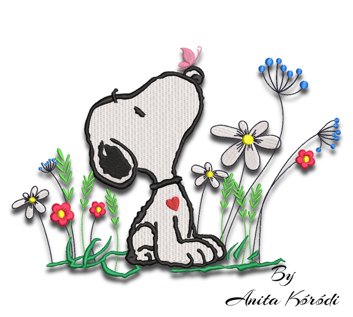Snoopy embroidery design flowers machine pes pattern spring