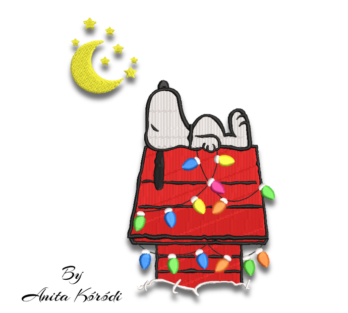Snoopy christmas embroidery design pes machine pattern moon