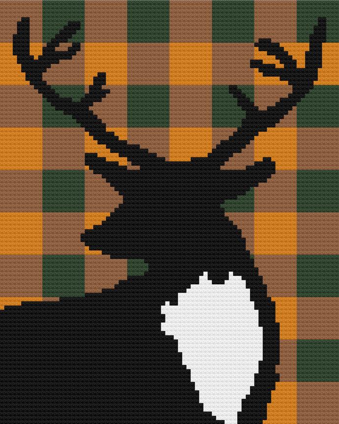 Hunting Season Deer Buck Plaid Silhouette C2C Crochet Pattern Corner to Corner