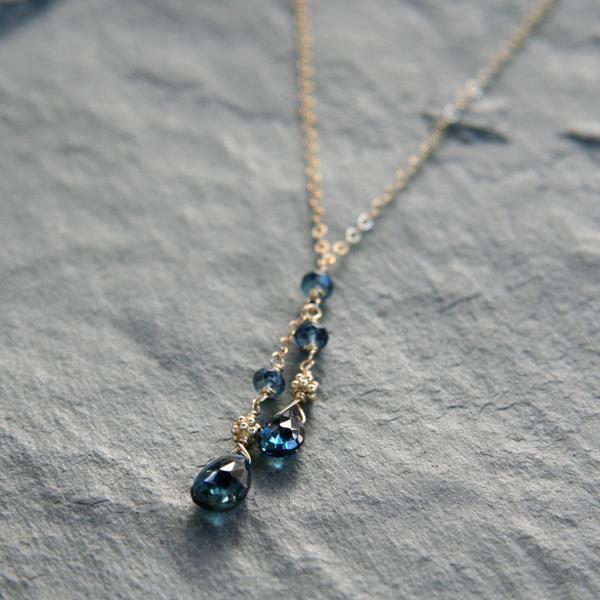 Blue Topaz Drop and Gold Necklace